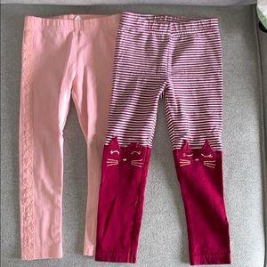 2 Carter's girl leggings. Size 3T.